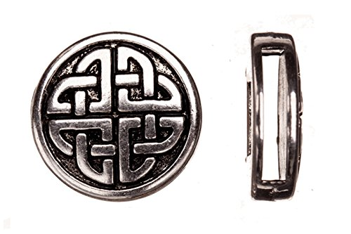 - 10pcs Celtic Knot Round Antique Silver-Plated Flat Leather Cord Charm fits 2x13mm Cord, 18x5mm