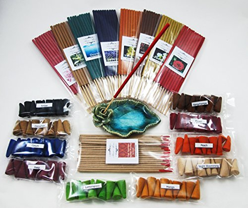 Prima Aroma set 265, 19 scented, Thai tradition temple incense 20 sticks, 8 packs of 10 smokeless fragrance incense tube, 10 packs of 10 aroma Incense cones & handmade ceramic (Primo Incense)