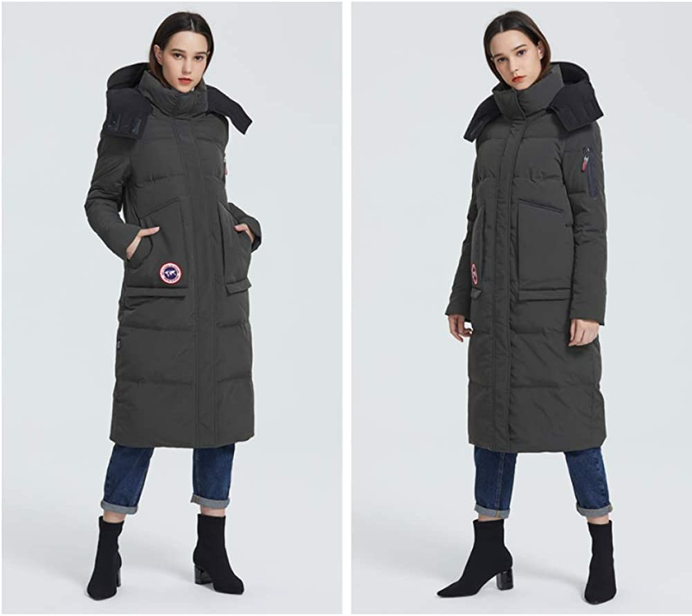 2019 New Winter Coat Women Parka Loose Cut Length Below Knee Jacket with Pockets Casual Style Resistant Collar Hooded Verde Pallido