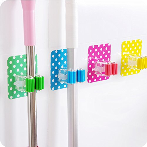 Loghot Set of 4 Polka Dot Wall Mounted Mop Clip Strong Adhesive Multi-functional Mop/Broom Hangers Rack Holders Storage & Home Organization (Adhesive Mop And Broom Holder compare prices)