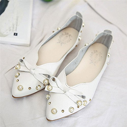 Women Shoes ,Jamicy Women Elegant Bowknot Bead Casual Slip-On Flat Shoes White