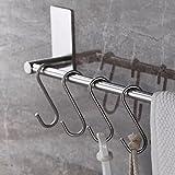 LareinaXXX Premium 10 Pack Size X-Large Brushed Stainless Flat S Hooks Kitchen Pot Pan Hanger Clothes Storage Rack.