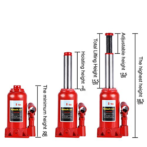 Hydraulic Bottle Jack, 8 Ton Capacity Red Portable Heavy Duty Hydraulic Jack Automotive Lifter for Car Caravan Tractors Truck by Yosooo (Image #6)