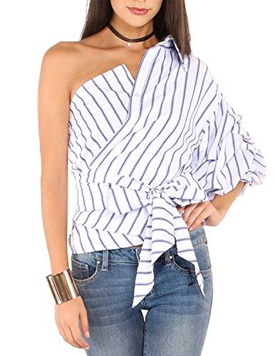Cotton Stripe Wrap Top (RICHKOKO Women Wrap Asymmetry One Shoulder Layered Sleeve Button Crop Shirt(XXL,Stripe))