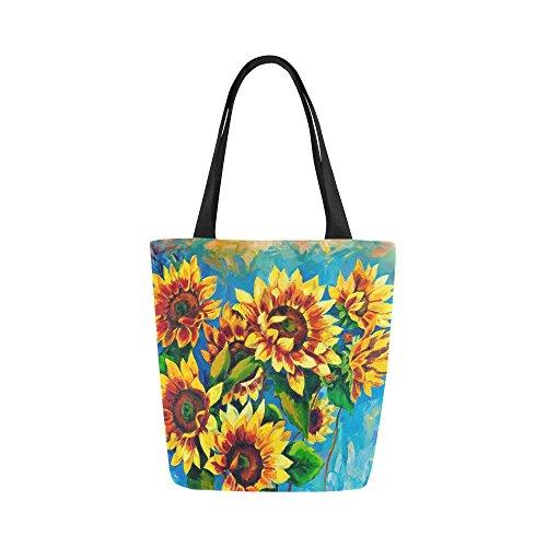 Price comparison product image InterestPrint Oil Painting Sunflower Canvas Tote Bag Shoulder Handbag for Women Girls