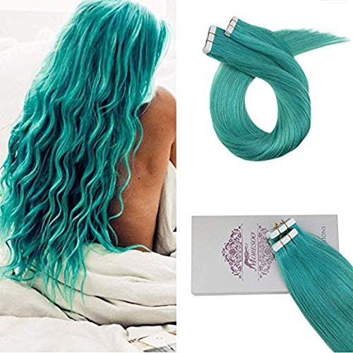 Moresoo 20 Inch Tape in Extensions Human Hair 20g/10pcs Real Human Hair Skin Weft Color Teal Remy Seamless Hair Extensions by Moresoo