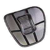 asiento de automóvil soporte de silla para la espalda, protector de respaldo del asiento, cojín de respaldo, cojín de masaje con cuentas Cojín en la cintura para el conductor Oficina del automóvil, soporte cómodo y elástico en la espalda, negro