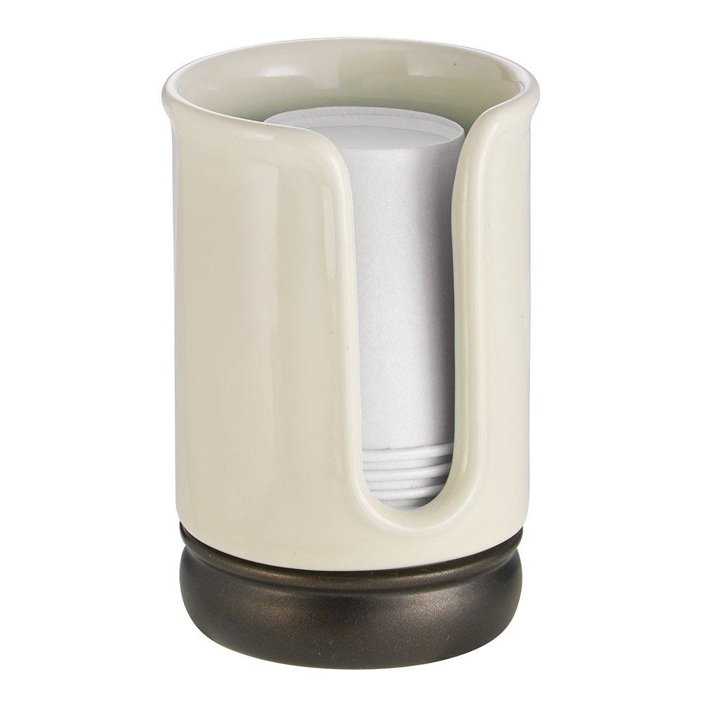 InterDesign York Disposable Paper Cup Dispenser for Bathroom Countertops - Vanilla/Bronze 75806