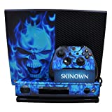 SKINOWN Xbox 1 Blue Flame Skull Skin Blue Fire Skull Sticker Vinly Decal Cover for Xbox One(XB1) Console and 2 Controller with 1 Kinect Skins