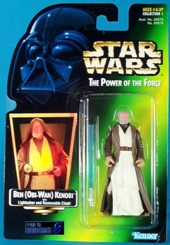 Star Wars Power of the Force Ben Obi-wan Kenobi Hologram Green Card Action Figure with Light Saber and Removable Cloak By (Star Wars Obi Wan Light Saber)