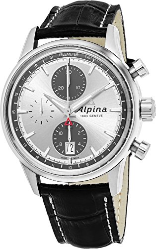 Alpina Alpiner Chronograph Automatic Silver Dial Black Leather Mens Watch AL-750SG4E6