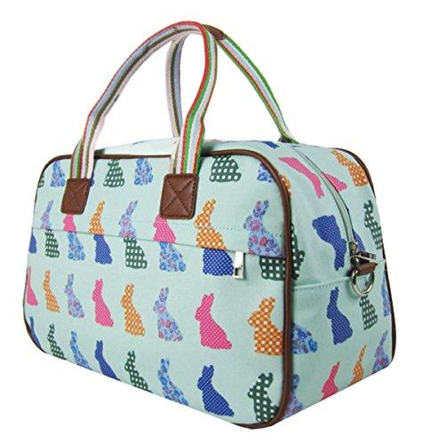 And Handle Turquoise Design Tote Top Flower Animal Handbag Bag Kukubird Crossbody Shoulder Overnight Various Rabbit qxaEOOwz