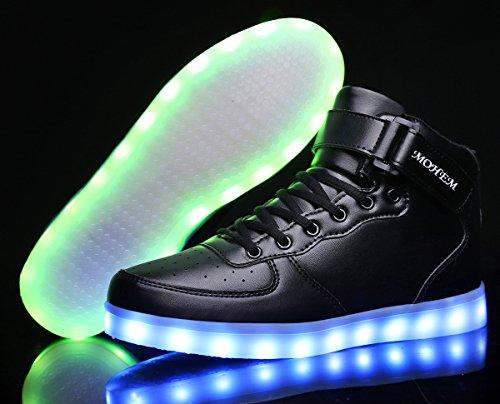 MOHEM ShinyNight High Top LED Schuhe leuchten USB Lade Flashing Sneakers Schwarz