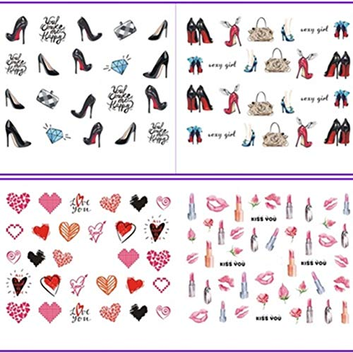 12 Pack Lips Stick High Heel Shoes Nail Art Stickers Water Decal Professional Girls Stamper Plates First Class Popular Glitter Decals Nails Wraps Kits