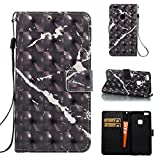 Cover for Huawei P10 Lite Marble Book Black, Misteem Colorful Fantasy Marble Pattern Soft Leather Credit Card Holder Wallet Shockproof Case Protective Shell for Huawei P10 Lite