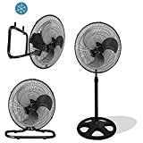 Unique Imports Premium Large High Velocity Industrial Floor Fan 18'' Floor Stand Mount Oscillating - Cool Black & Silver