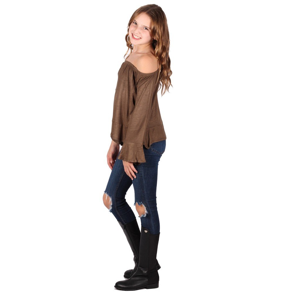 Lori/&Jane Big Girls Light Brown Long Sleeves Off Shoulder Elastic Top 7-14