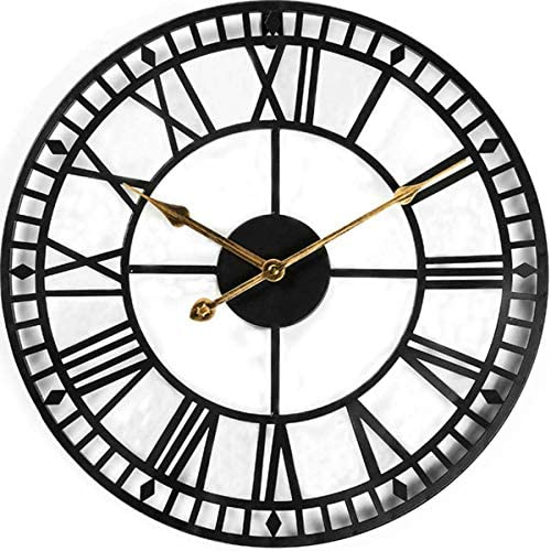 Evursua 24 Inch Large Metal Wall Clock Industrial Wall Art Decor Clocks Silent Battery Operated Solid Iron Skeleton Big Roman Numerals Antique Style Kitchen Dining