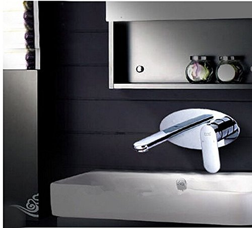 GOWE Modern Chrome Finished Bathroom Sink Basin Faucet Solid Brass Mixer Tap Single Handle Dual Holes Wall Mounted 0