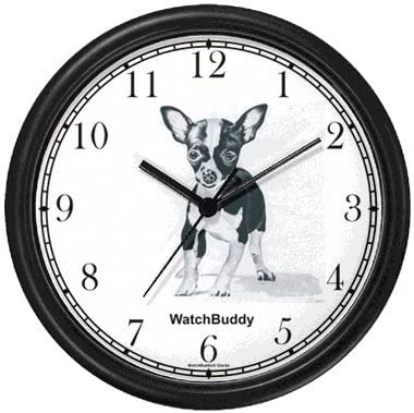 WatchBuddy Chihuahua Dog Wall Clock Timepieces Black Frame