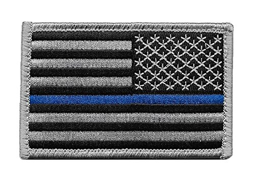 Pennant Patch - Reversed US Flag Thin Blue Line Patch for Police and Law Enforcement with Hook/Loop Backing