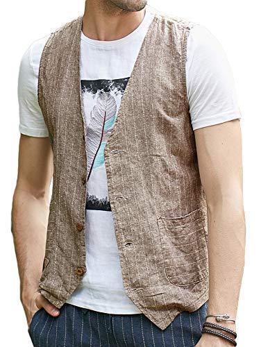 Runcati Mens Linen Cotton Suit Button Up Vest Casual Striped Basic Lightweight Slim Fit Pockets Waistcoat Brown