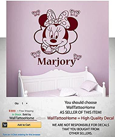 Amazoncom Name Minnie Mouse Wall Decal Baby Girls Personalized - Minnie mouse wall decals