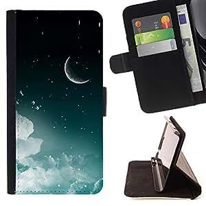 Momo Phone Case / Flip Funda de Cuero Case Cover - Luna Creciente Estrellas del cielo nocturno Nubes Espacio - Sony Xperia Z2 D6502