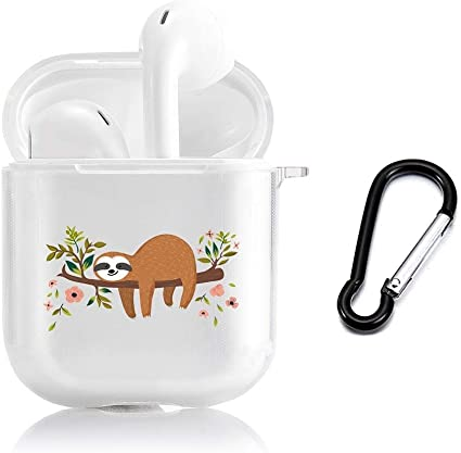 Adorable Sloth Pattern Slim Form Fitted Printing Pattern Cover Case with Carabiner Compatible with Airpods 1 and AirPods 2