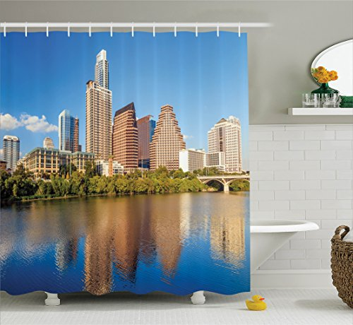 Ambesonne Apartment Decor Collection, View of Austin and Texas Summertime Sunny Day Park Shores Waterscape Picture, Polyester Fabric Bathroom Shower Curtain Set with Hooks, Blue Green (Austin Party City)
