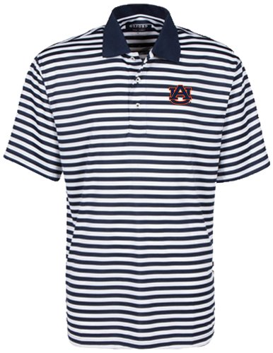 Bar Stripe Polo (Oxford NCAA Auburn Tigers Men's Bar Stripe Golf Polo, Classic Navy/White, Medium)