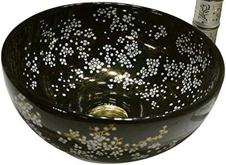樹脂洗面台天然石楕円形凹型中国アートセラミック洗面台バスルームカウンタートップバスルームシンクブラックセラミック洗面台(色:蛇口付きシンク)