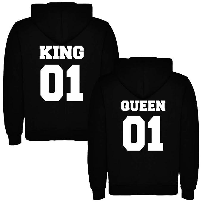 Pack de 2 Sudaderas Negras para Parejas, King 01 Bold y Queen 01 Bold, Blanco: Amazon.es: Ropa y accesorios