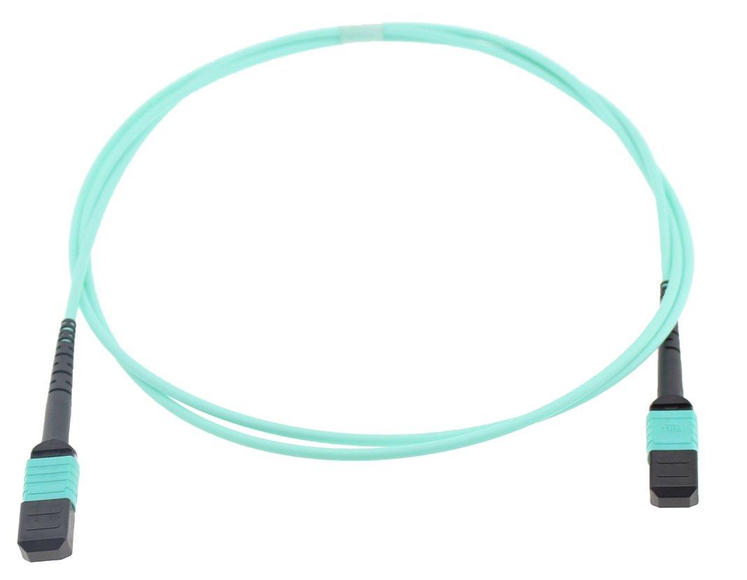 CableJoy MPO-12F-OM3-F2F-TA-20M 12 Fiber OM3 MPO Trunk Cable, Female to Female, Type-A Straight Through, 20 m (65.6'), Aqua