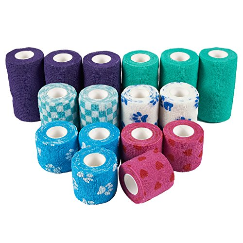 Juvale Self Adherent Wrap - 16 Pack of Cohesive Bandage Medical Vet Tape for First Aid, Sports, Wrist, Ankle in 6 Colors, 3 Assorted Sizes by Juvale