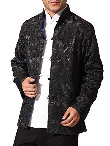 Bitablue Men's Auspicious Reversible Chinese Shirt (Medium, Black/Navy Blue)