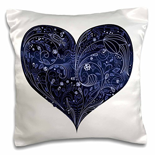 Anne Marie Baugh Hearts - Large Blue Heart With Lacey Flower Center On A White Background - 16x16 inch Pillow Case