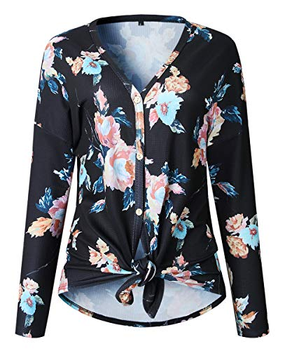 Print V-neck Cardigan - Women's Long Sleeve Floral Print Knit Casual Cardigan V Neck Tie Front Button Up Sweater Knitted Blouse Top (Black L)