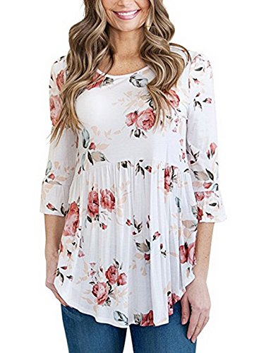 3/4 Sleeve Tunic Top - TongKiKi Women's Scoop Neck 3/4 Ruffle Detailed Sleeve Floral Tops Blouse,DG-7,XL