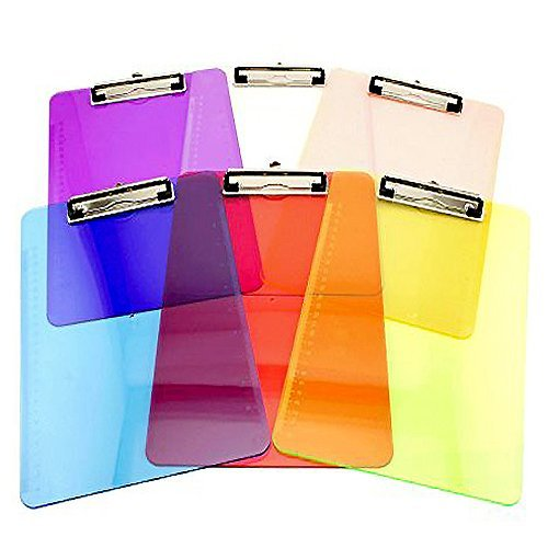 Display Office Clipboard (Ifavor123 Standard Size Clear Color Plastic Clipboard Transparent Assorted Colorful Clipboards (6))