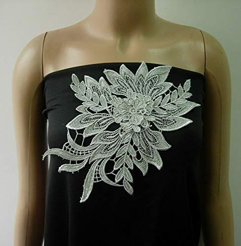 (FidgetKute VT429 Tier Floral Leaf Silver Metallic Trims Lace Applique Sew On Fashion/Craft)