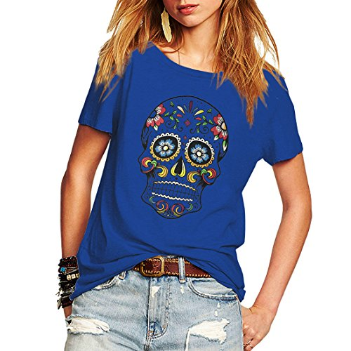 Skull Tee Womens (Weigou Woman T Shirt Floral Skull Contrast Color Junior Tops Tee Punk Street Style Lady Shirt (XL, Blue))