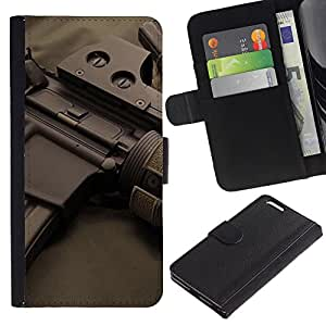 LASTONE PHONE CASE / Lujo Billetera de Cuero Caso del tirón Titular de la tarjeta Flip Carcasa Funda para Apple Iphone 6 PLUS 5.5 / Assault rifles