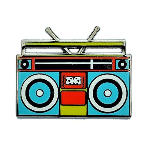 Enamel Pin Boombox - boom box lapel pin - retro music hat pin - vintage 80's style hard enamel pin - 90's enamel pins - lapel ()