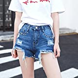 YFF hole rivet high waist show thin leg rough edges beggar pants female pants,S,Blue