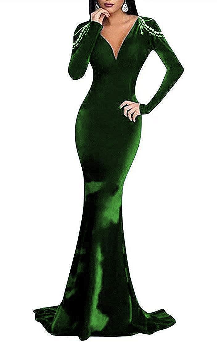 Dark Green tutu.vivi Women's VNeck Mermaid Velvet Prom Dresses Long Sleeves Evening Dresses with Beaded