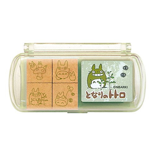 1 X My Neighbor Totoro Design Stamp Set (4 Wooden Stamps and Stamp Pad)