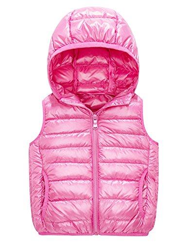 - IKALI Kids Puffer Down Vest, Ultralight Hooded Sleeveless Jacket Waistcoat for Toddler Boys Girls Outwear(10-12Y, Pink)
