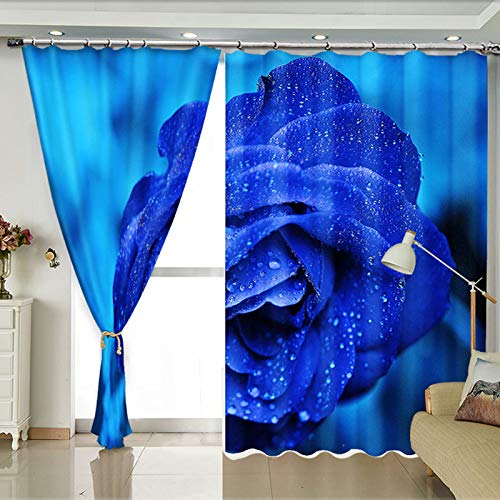 ZZHL Curtains Curtains,Hooks Rings Blackout Set Thermal Insulated Window Treatment Solid Eyelet for Bedroom 2 Panels Blue Flower (Size : 1x2.41m) by ZZHL (Image #2)
