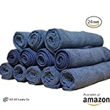 Microfiber Towel Cleaning Cloths, Highly Absorbent, 16x16 , 24-Pack, All-Purpose Auto Detailing, Car Polishing, Dish Drying & Washing - Scratch Resistant Fabric Material (Navy)